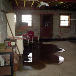 A flooded basement showing groundwater intrusion in Schenectady