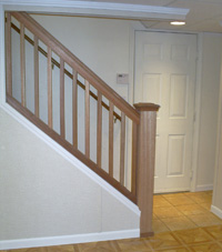 Renovated basement staircase in Saratoga Springs