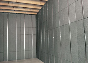 SilverGlo™ insulation and metal studs making up our Basement to Beautiful™ panels.  Installed in Clifton Park.