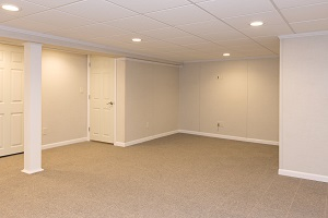 A complete finished basement system in a Queensbury home