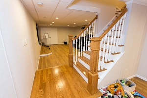 Finishing touches for a remodeled basement in Poughkeepsie